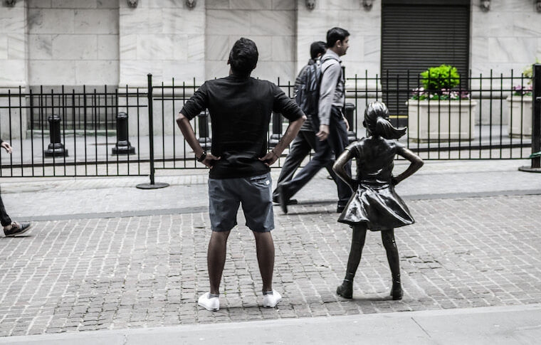 Fearless Girl statue in Lower Manhattan