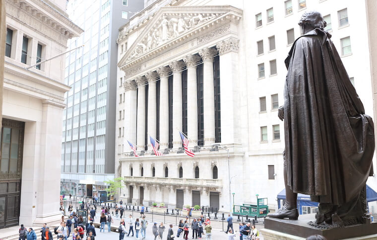 New York Stock Exchange with people outside