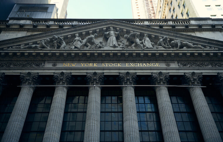 Exterior shot of the New York Stock Exchange building