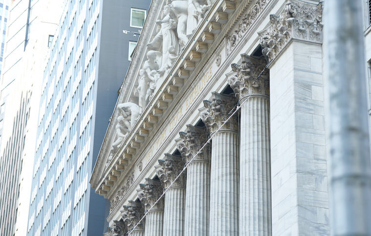 Shot of the New York Stock Exchange in Lower Manhattan