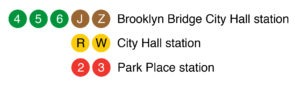 4/5/6/J/Z Brooklyn Bridge City Hall station, R/W City Hall station, 2/3 Park Place station