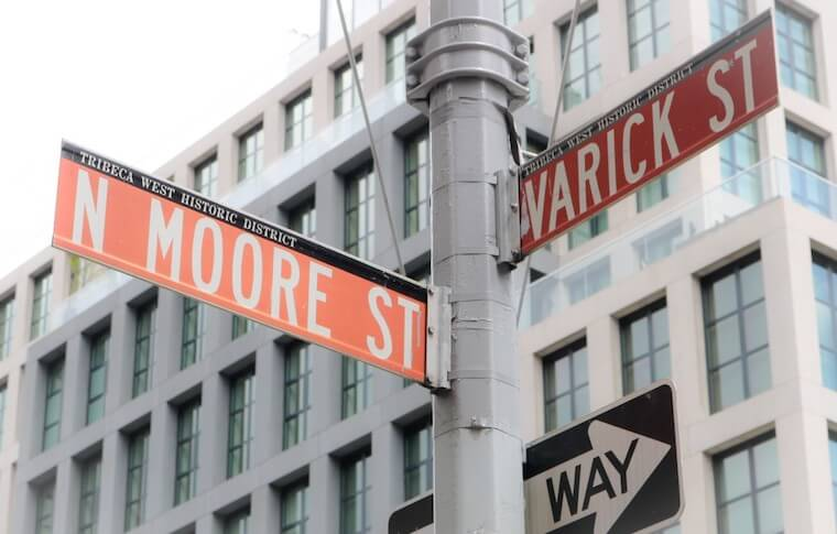 Street signs in TriBeCa